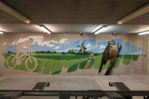 muurschildering fietsenstalling